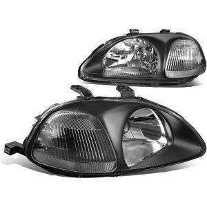 SK-Import Koplampen JDM Style Black Housing Helder Glas Honda Civic Pre Facelift-57636