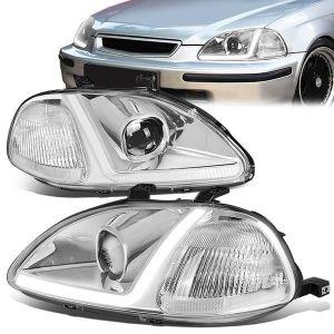 SK-Import Koplamp LED Chrome Housing Helder Glas Honda Civic Pre Facelift-79446
