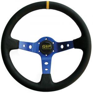 QSP Stuur Racing Blauw 350mm 90mm Leer-30002