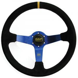 QSP Stuur Racing Blauw 350mm 70mm Suède-30004