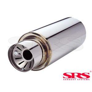SRS Achter Universele Uitlaat Demper G55 61mm Roestvrij Staal-50111